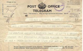 Second telegram, to advise that ACW was a POW, 1940. | Copyright Dr Rebecca Matthews