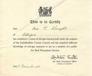 Jeannie Wrights ARP Certificate (1938) | Copyright Dr Rebecca Matthews