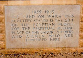 Memorial plaque at El Alamein War Cemetery | Courtesy of Mr David Bend