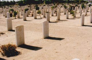 El Alamein War Cemetery, Frederick K Bend's headstone at the centre of the picture. | Courtesy of Mr David Bend