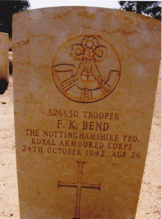 Frederick K Bend's gravestone in El Alamain War Cemetery | Courtesy of Mr David Bend